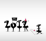 Funny New Year card. Funny New Year art card vector illustration