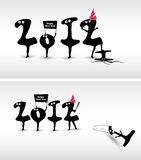Funny New Year card design. Funny New Year card art design stock illustration