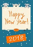 Funny new year dark blue card with three cartoon dogs. Kids new year 2018 card with funny three cartoon dogs and text Happy New Year  and number 2018 on the dark Stock Photography