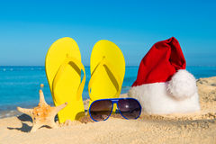 Funny New Year holidays at the sea. Christmas Travel in tropical countries Royalty Free Stock Photo