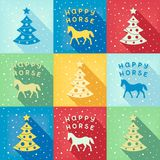 Funny New Year pop-art pattern. Retro pop-art pattern with Christmas symbols horse and fir-tree. vector eps8 stock illustration