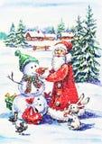 Funny New Year postcard with snowman and Santa. Watercolor painting: New Year postcard with snowman and Santa vector illustration