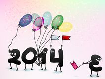 Funny 2014 New Year's Eve greeting card. + EPS10. Vector file Stock Photos