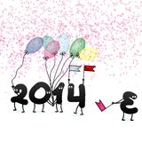 Funny 2014 New Year's Eve greeting card. + EPS10 Royalty Free Stock Photography