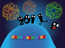 Funny New Year's greeting card. Funny New Year greeting card Royalty Free Stock Images