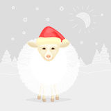 Funny New year's sheep. On winter landscape background Stock Photography