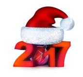 Funny new year 2017 and santa cap Royalty Free Stock Images