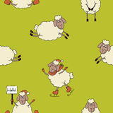 Funny new year seamless pattern with cute lambs Royalty Free Stock Photo