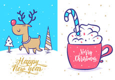 Funny new year set . Christmas greeting card background poster. Vector illustration. Stock Image