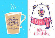 Funny new year set . Christmas greeting card background poster. Vector illustration. Stock Photography