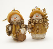 Funny new year snowmen royalty free stock images