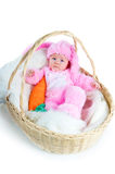 Funny newborn baby dressed in Easter bunny  suit Royalty Free Stock Image