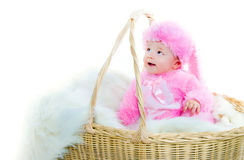 Funny newborn baby dressed in Easter bunny  suit Royalty Free Stock Photos