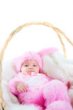 Funny newborn baby dressed in Easter bunny  suit Royalty Free Stock Photo