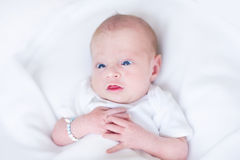 Funny newborn baby on a white blanket Royalty Free Stock Image
