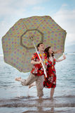 Funny Newlyweds in Hawaii Royalty Free Stock Images