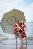 Funny Newlyweds in Hawaii Royalty Free Stock Photos