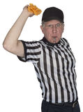 Funny NFL Football Referee or Umpire, Penalty Flag, Isolated. A funny NFL football referee or umpire is throwing a penalty flag. The ref is always under scrutiny royalty free stock photos