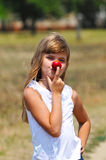 Funny nose with apple Stock Photos
