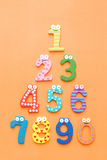 Funny number. Cartoon collection on orange background Stock Images