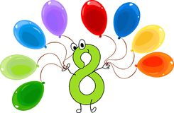 Funny number eight. And eight balloons Royalty Free Stock Photos