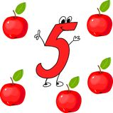 Funny number five. And five red apples Royalty Free Stock Photography