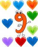 Funny number nine. And nine colorful hearts Royalty Free Stock Photography