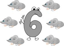 Funny number six. And six gray mice Stock Photos