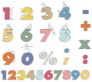 Funny numbers. Color numbers 1 to 9 for mathematics Stock Photo
