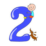 Funny numbers with cartoon characters children. 2. Funny numbers with cartoon characters children. Vector doodle Royalty Free Stock Photos
