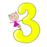 Funny numbers with cartoon characters children. 3. Funny numbers with cartoon characters children. Vector doodle Stock Images