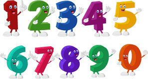 Funny Numbers Cartoon Characters Royalty Free Stock Photo