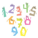 Funny numbers. Cartoon cute characters. Flat vector illustration Stock Photography