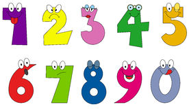 Funny numbers cartoon style Royalty Free Stock Photos