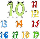 Funny numbers. Colored funny numbers, drawn in cartoon style stock illustration