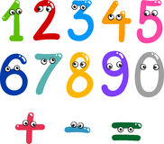 Funny numbers from zero to nine. Illustration of numbers from zero to nine and math symbols Stock Illustration