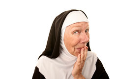 Funny Nun. With Happy Shocked on her Face Stifling a Laugh stock photos