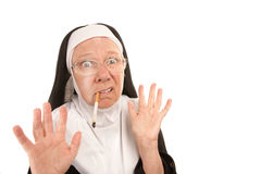 Funny Nun Caught Smoking Royalty Free Stock Photos