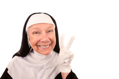 Funny Nun Making Peace Sign Royalty Free Stock Photography