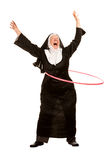 Funny Nun with Toy Hoop Royalty Free Stock Image