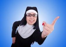Funny nun  on the white Royalty Free Stock Photo