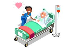 Funny Nurse and Female Elderly Patient in Bed Royalty Free Stock Photography