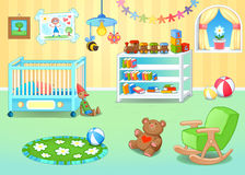 Funny nursery with toys stock photography