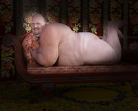 Funny Obese Nude Male Illustration Royalty Free Stock Photo