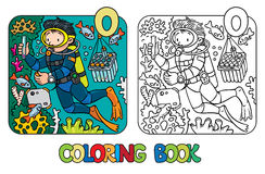Funny oceanographer or diver. Coloring book. Coloring picture or coloring book of funny oceanologist or oceanographer, or diver in scuba gear near the fishes Stock Image