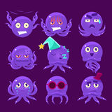 Funny Octopus Character Emoji Set Royalty Free Stock Image