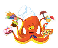 Funny octopus cook Stock Photos