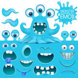 Funny octopus emoji monster character creation set. Vector illustration Royalty Free Stock Photos
