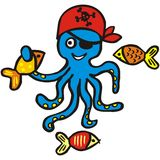 Funny octopus and fish Stock Photography