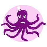 Funny octopus in the hat. royalty free illustration